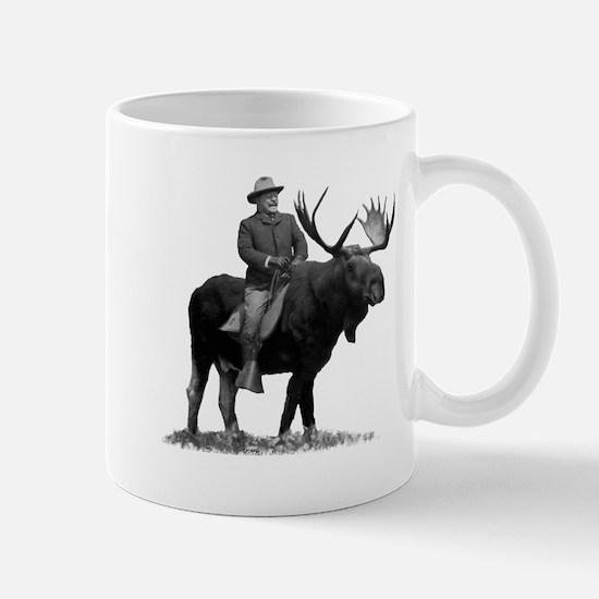 Teddy Roosevelt Riding A Bull Moose Mugs