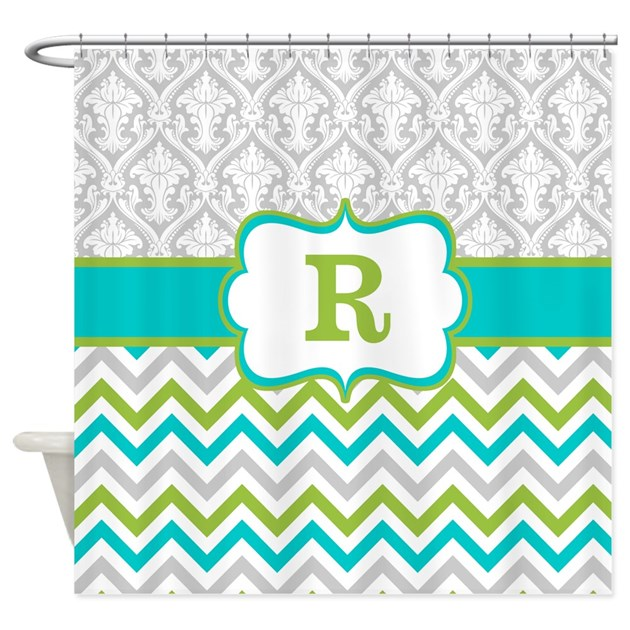 Gray teal green damask chevron monogram shower cur by for Kitchen colors with white cabinets with monogram stickers for cups