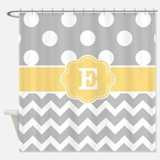 Gray Yellow Dots Chevron Monogram Shower Curtain