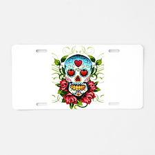 SugarSkull1 Aluminum License Plate