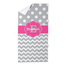 Gray Pink Chevron Dots Monogram Beach Towel