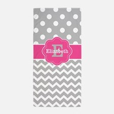 Gray Pink Chevron Dots Monogram Beach Towel