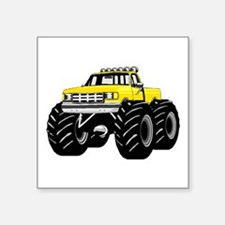 "Yellow MONSTER Truck Square Sticker 3"" x 3"""