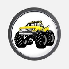 Yellow MONSTER Truck Wall Clock