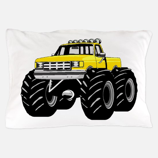 Yellow MONSTER Truck Pillow Case