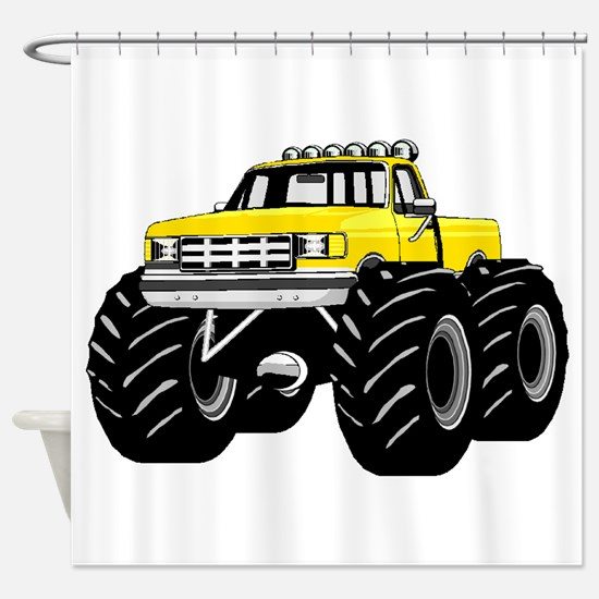 Yellow MONSTER Truck Shower Curtain