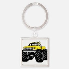 Yellow MONSTER Truck Square Keychain