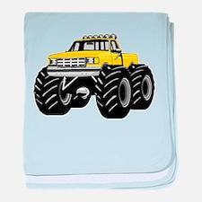 Yellow MONSTER Truck baby blanket