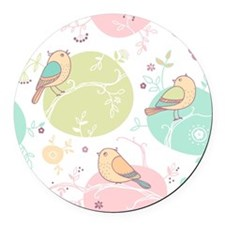 Birds and Flowers Round Car Magnet