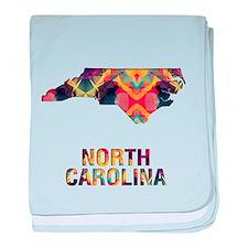 Cute North carolina map baby blanket