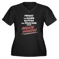 Skatess Women's Plus Size V-Neck Dark T-Shirt