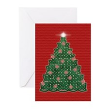 Celtic Christmas Tree (red) Greeting Cards (10)