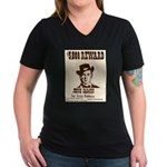 Wanted Jesse James Women's V-Neck Dark T-Shirt