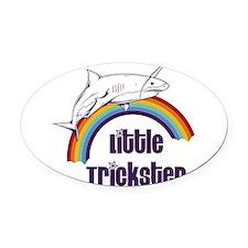 Little Trickster - Shark on a Rain Oval Car Magnet