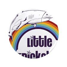 """Little Trickster - Shark on a Rainbow 3.5"""" Button"""