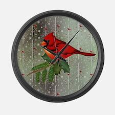 Cardinal in Snow Large Wall Clock