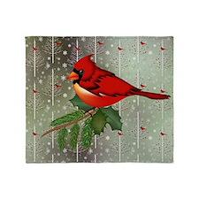 Cardinal in Snow Throw Blanket