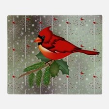 Cardinal in Snow Throw Blanket