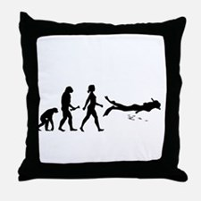Scuba Diver Evolution Throw Pillow
