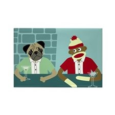 Pug Dog & Sock Monkey Rectangle Magnet