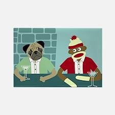 Pug Dog & Sock Monkey Rectangle Magnet