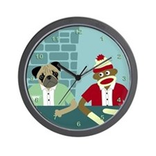 Pug Dog & Sock Monkey Wall Clock