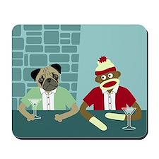 Pug Dog & Sock Monkey Mousepad