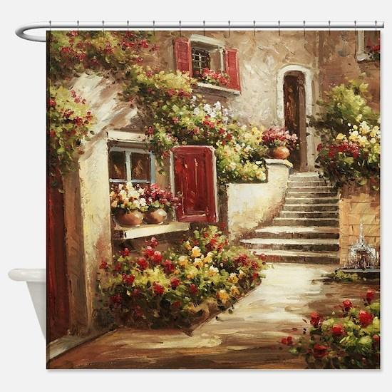 Tuscan Courtyard Shower Curtain