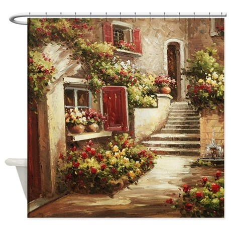 Tuscan Courtyard Shower Curtain Part 82