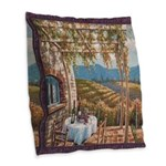 Tuscan Vineyard Burlap Throw Pillow
