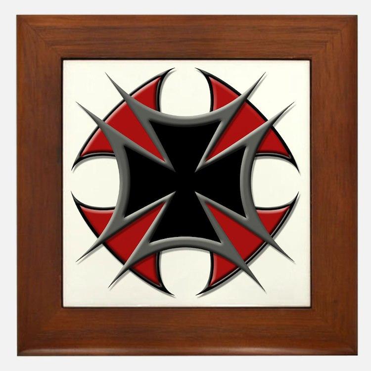 Double Maltese Biker Cross Framed Tile