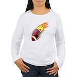 Flaming Football Women's Long Sleeve T-Shirt