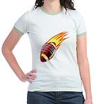 Flaming Football Jr. Ringer T-Shirt