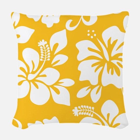 Yellow Hawaiian Hibiscus Woven Throw Pillow