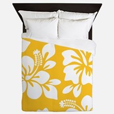 Yellow Hawaiian Hibiscus Queen Duvet
