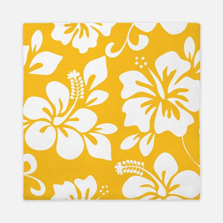 Yellow Hawaiian Hibiscus Queen Duvet