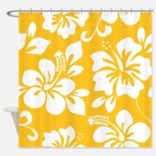 Yellow Hawaiian Hibiscus Shower Curtain
