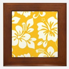 Yellow Hawaiian Hibiscus Framed Tile