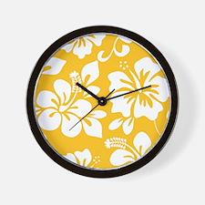 Yellow Hawaiian Hibiscus Wall Clock