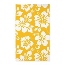 Yellow Hawaiian Hibiscus 3'x5' Area Rug