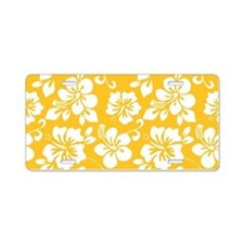 Yellow Hawaiian Hibiscus Aluminum License Plate