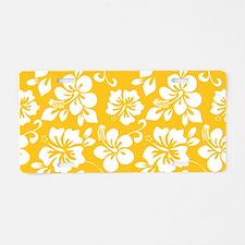 Yellow Hawaiian Hibiscus Aluminum License Plate