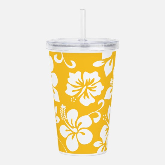 Yellow Hawaiian Hibiscus Acrylic Double-wall Tumbl