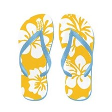 Yellow Hawaiian Hibiscus Flip Flops