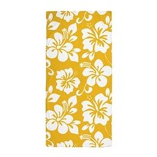 Yellow Hawaiian Hibiscus Beach Towel
