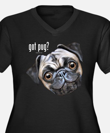 Got Pug? Women's Plus Size V-Neck Dark T-Shirt