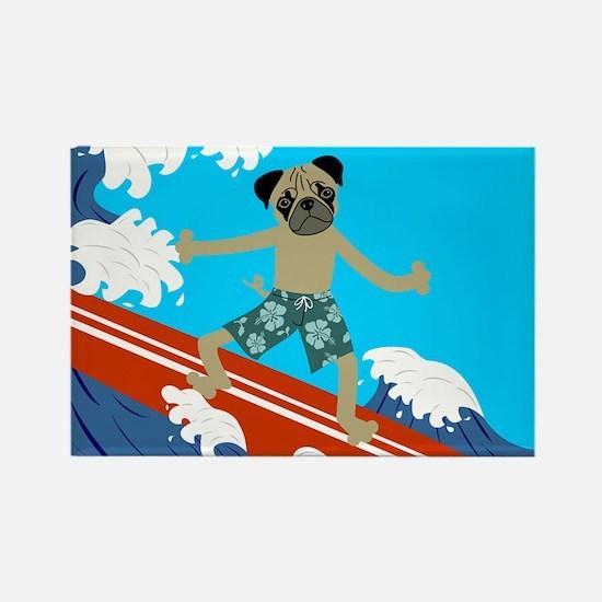 Pug Dog Longboard Surfer Rectangle Magnet