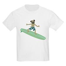 Pug Dog Longboard Surfer T-Shirt
