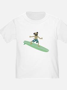 Pug Dog Longboard Surfer T