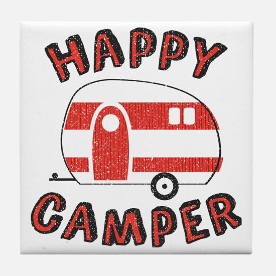 Unique Happy camper Tile Coaster